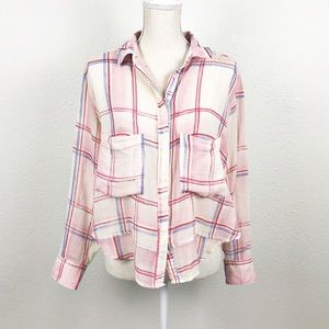 Holding Horses Blushed Plaid Button Down Top